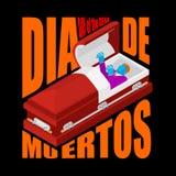 Dag van de Doden Open doodskist vertrokken zombie in kist mexicaans Royalty-vrije Stock Fotografie