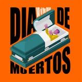 Dag van de Doden Open doodskist vertrokken zombie in kist mexicaans Stock Fotografie