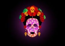 Dag van de doden, portret van Mexicaanse Catrina met schedels en rode bloemen, inspiratie Santa Muerte in Mexico en La Calavera,  Royalty-vrije Stock Foto