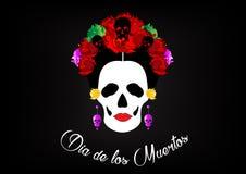 Dag van de doden, portret van Mexicaanse Catrina met schedels en rode bloemen, inspiratie Santa Muerte in Mexico en La Calavera,  Royalty-vrije Stock Afbeeldingen