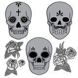 Dag van de Doden Reeks schedels Vector illustratie Stock Afbeelding