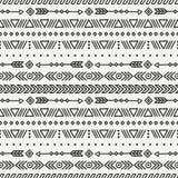 Dag van de Doden Stammenhand getrokken lijn Mexicaans etnisch naadloos patroon Grens Verpakkend document af:drukken doodles tilin royalty-vrije illustratie