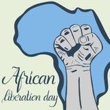 Dag van de inschrijvings de Afrikaanse die bevrijding, handen in vuist en kaart van Afrika worden dichtgeklemd Stock Afbeelding