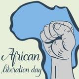 Dag van de inschrijvings de Afrikaanse die bevrijding, handen in vuist en kaart van Afrika worden dichtgeklemd Royalty-vrije Stock Afbeeldingen