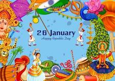 26 Dag van de Republiek van Januari de Gelukkige van de achtergrond van India stock illustratie
