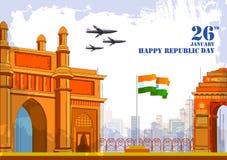 26 Dag van de Republiek van Januari de Gelukkige van de achtergrond van India vector illustratie