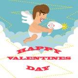 Dag van de Valentijnskaarten van de kaart van de groet de Gelukkige Ontwerp vector illustratie
