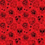 Dag van Dood Sugar Skull Seamless Vector Background Stock Foto