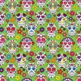 Dag van Dood Sugar Skull Seamless Vector Background Stock Afbeeldingen