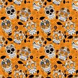 Dag van Dood Sugar Skull Seamless Vector Background Royalty-vrije Stock Afbeeldingen