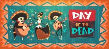 Dag van Dood Traditioneel Mexicaans Halloween Dia De Los Muertos Stock Illustratie