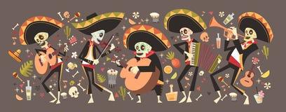 Dag van Dood Traditioneel Mexicaans Halloween Dia De Los Muertos Holiday Stock Illustratie