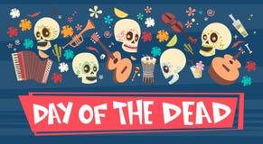 Dag van Dood Traditioneel Mexicaans Halloween Dia De Los Muertos Holiday Party Stock Illustratie
