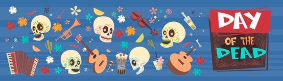 Dag van Dood Traditioneel Mexicaans Halloween Dia De Los Muertos Holiday Party Royalty-vrije Stock Fotografie