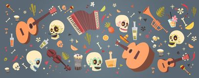 Dag van Dood Traditioneel Mexicaans Halloween Dia De Los Muertos Holiday Party vector illustratie