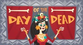 Dag van Dood Traditioneel Mexicaans Halloween Dia De Los Muertos Holiday Party Royalty-vrije Stock Foto