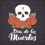 Dag van het Dode, het van letters voorzien citaat met handdrawn schedel en rozen royalty-vrije illustratie