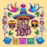 Dag van het Dode ontwerpmalplaatje stock illustratie