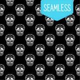 Dag van het dode vector naadloze patroon van schedels Hand voor prentbriefkaar wordt geschetst die Royalty-vrije Stock Foto's