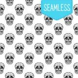 Dag van het dode vector naadloze patroon van schedels Hand voor prentbriefkaar wordt geschetst die Royalty-vrije Stock Afbeelding