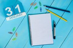 31 Dag 31 van januari van maand, kalender op werkplaatsachtergrond De winter bij het werkconcept Lege ruimte voor tekst De idylle Royalty-vrije Stock Foto