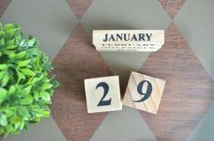 Dag van Januari met blad op diamant stock foto
