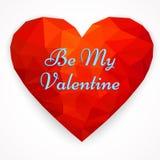 Dag van kaart de Gelukkige Valentine ` s met veelhoekig hart Vectorillustra Stock Afbeeldingen