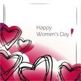 Dag van kaart de gelukkige vrouwen ` s, rode harten royalty-vrije illustratie