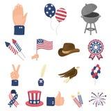 Dag van Patriot, de pictogrammen van het vakantiebeeldverhaal in vastgestelde inzameling voor ontwerp Amerikaans de voorraadweb v stock illustratie
