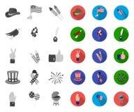 Dag van Patriot, vakantie mono, vlakke pictogrammen in vastgestelde inzameling voor ontwerp Amerikaans de voorraadweb van het tra stock illustratie