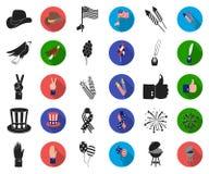 Dag van Patriot, vakantie zwarte, vlakke pictogrammen in vastgestelde inzameling voor ontwerp Amerikaans de voorraadweb van het t royalty-vrije illustratie