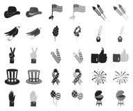 Dag van Patriot, vakantie zwarte, zwart-wit pictogrammen in vastgestelde inzameling voor ontwerp Amerikaans de voorraadweb van he royalty-vrije illustratie