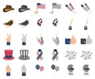 Dag van Patriot, vakantiebeeldverhaal, monochrom pictogrammen in vastgestelde inzameling voor ontwerp Amerikaans de voorraadweb v stock illustratie