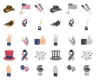 Dag van Patriot, vakantiebeeldverhaal, monopictogrammen in vastgestelde inzameling voor ontwerp Amerikaans de voorraadweb van het stock illustratie