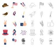 Dag van Patriot, vakantiebeeldverhaal, overzichtspictogrammen in vastgestelde inzameling voor ontwerp Amerikaans de voorraadweb v vector illustratie