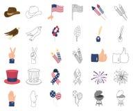Dag van Patriot, vakantiebeeldverhaal, overzichtspictogrammen in vastgestelde inzameling voor ontwerp Amerikaans de voorraadweb v stock illustratie