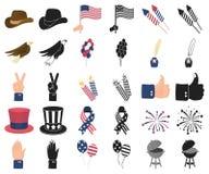Dag van Patriot, vakantiebeeldverhaal, zwarte pictogrammen in vastgestelde inzameling voor ontwerp Amerikaans de voorraadweb van  royalty-vrije illustratie