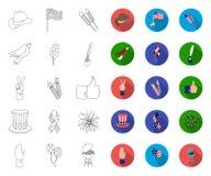 Dag van Patriot, vakantieoverzicht, vlakke pictogrammen in vastgestelde inzameling voor ontwerp Amerikaans de voorraadweb van het vector illustratie