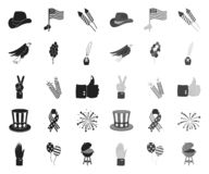 Dag van Patriot, vakantiezwarte monopictogrammen in vastgestelde inzameling voor ontwerp Amerikaans de voorraadweb van het tradit vector illustratie