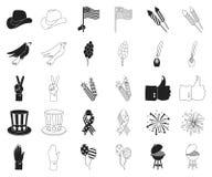 Dag van Patriot, vakantiezwarte, overzichtspictogrammen in vastgestelde inzameling voor ontwerp Amerikaans de voorraadweb van het royalty-vrije illustratie
