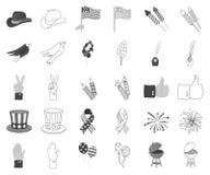 Dag van Patriot, zwart-wit vakantie, overzichtspictogrammen in vastgestelde inzameling voor ontwerp De Amerikaanse voorraad van h stock illustratie