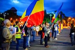 Dag 105 van protest, Boekarest, Roemenië Stock Fotografie