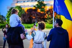 Dag 108 van protest, Boekarest, Roemenië Royalty-vrije Stock Foto