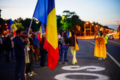 Dag 108 van protest, Boekarest, Roemenië Royalty-vrije Stock Afbeelding