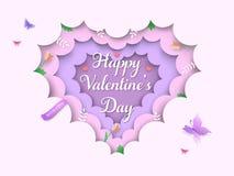 Dag van Valentine bracht aanin lagen 3d achtergrond met hart vormde wolken, de lentebloemen, tulpen, takken, groene bladeren, vli stock illustratie
