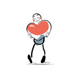 Dag van Valentine van het liefde de mannelijke hart Stock Foto's