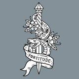 Daga del tatuaje, serpiente, cinta Fortaleza de ánimo de las letras Fotografía de archivo