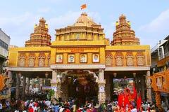 Dagadu Seth Ganapati decorated pandal, replica of Brahmanaspati Temple. Pune Royalty Free Stock Photos