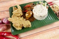 Dagang de Nasi, un repas malaisien populaire sur la Côte Est du Malaysian péninsulaire Image libre de droits