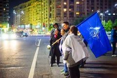 100 dagar av protesten, Bucharest, Rumänien Royaltyfria Foton